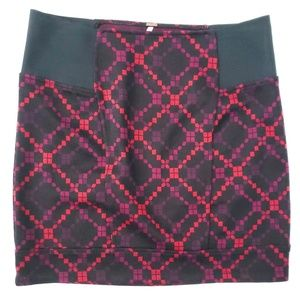 Free People Geometric Knit Mini Pencil Skirt Black